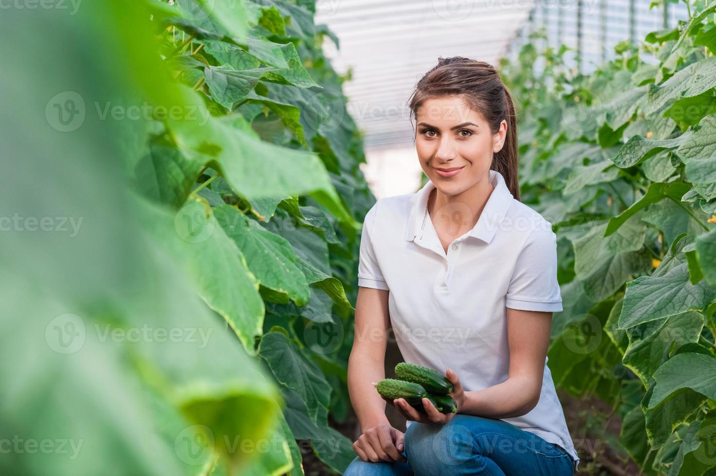 Portrait of young female agriculture worker photo