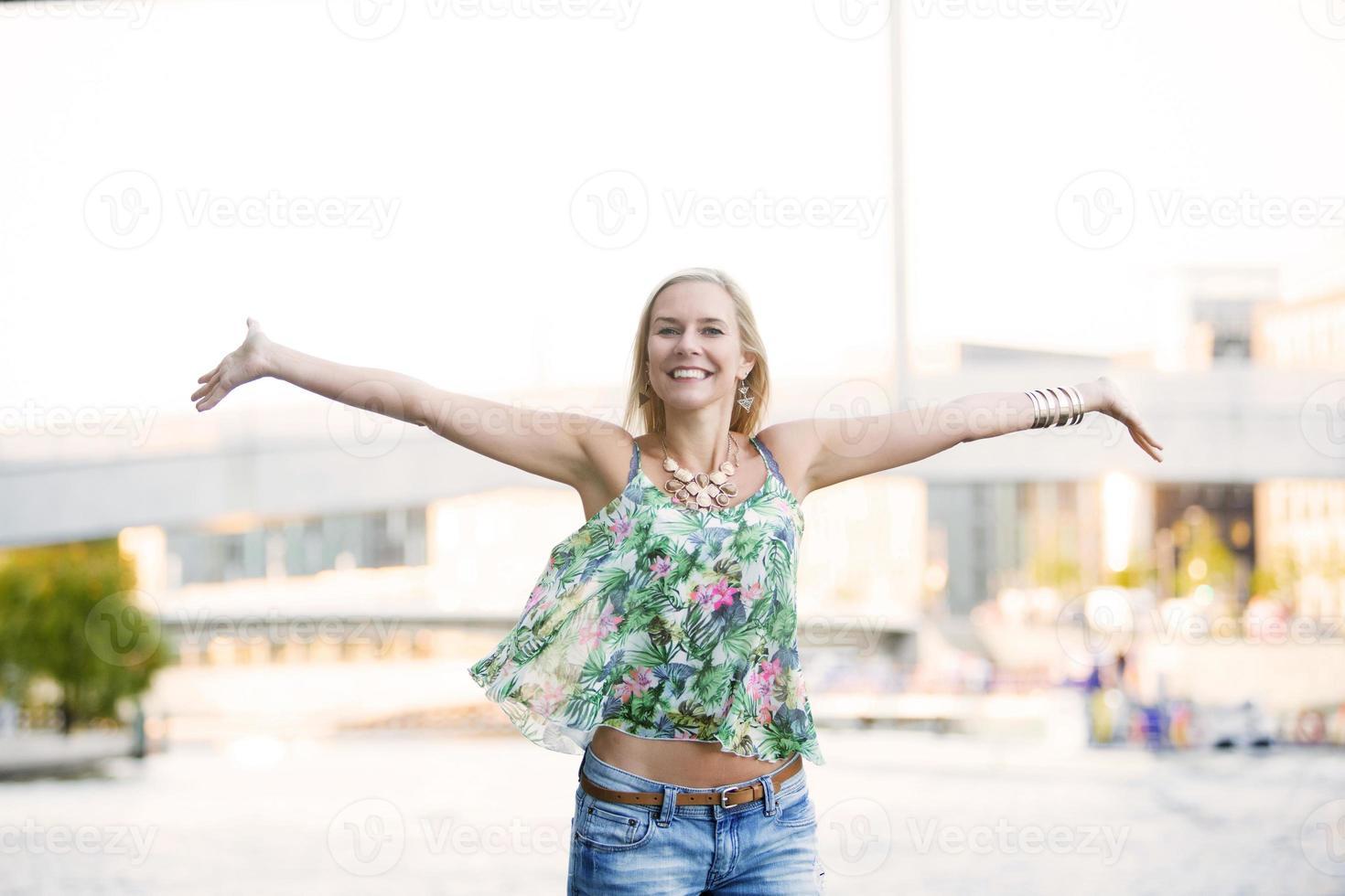 blonde happy woman photo