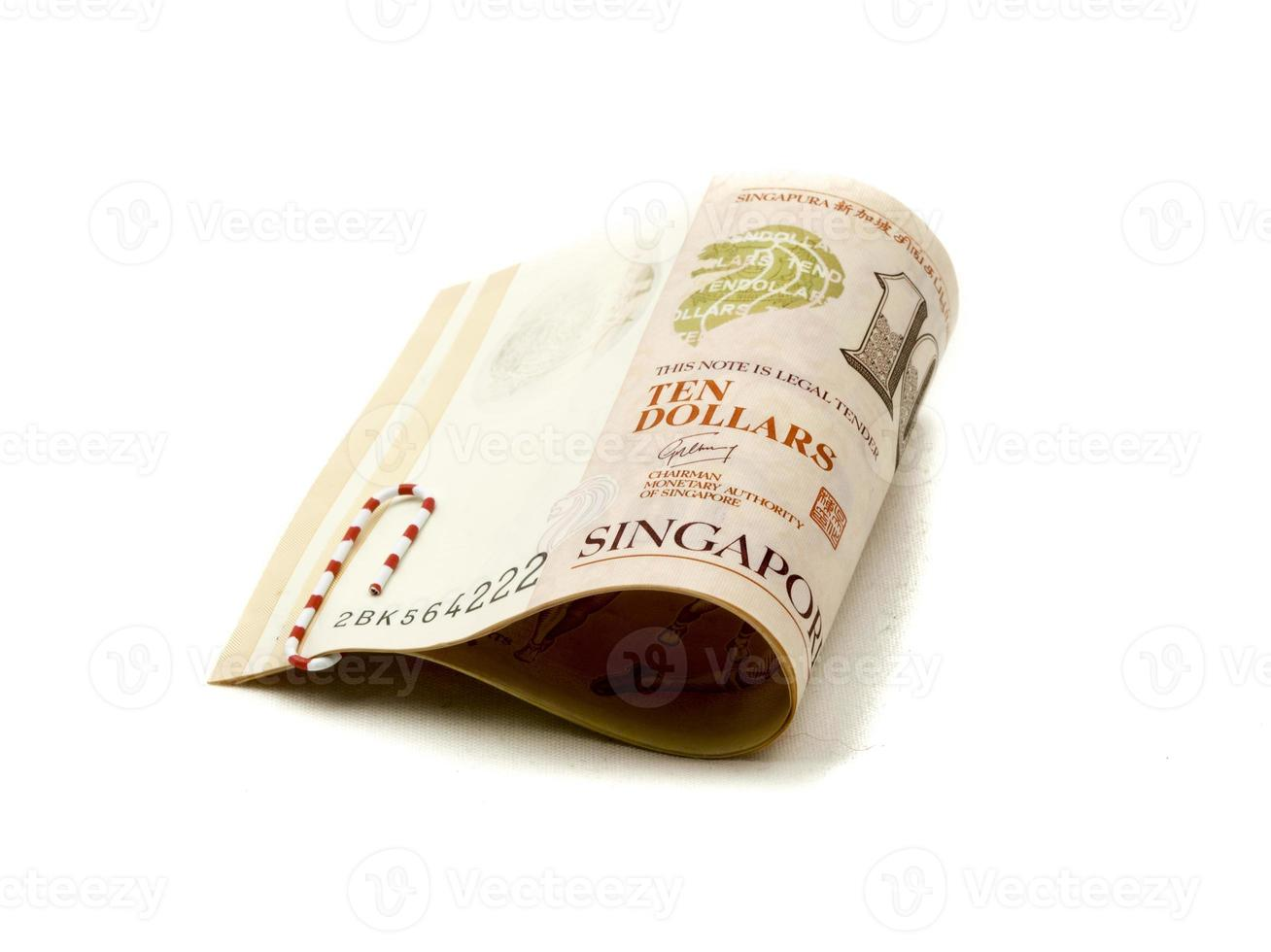 Singapore Dollars Cash Paper Bank Note. Asian monetary currency. photo