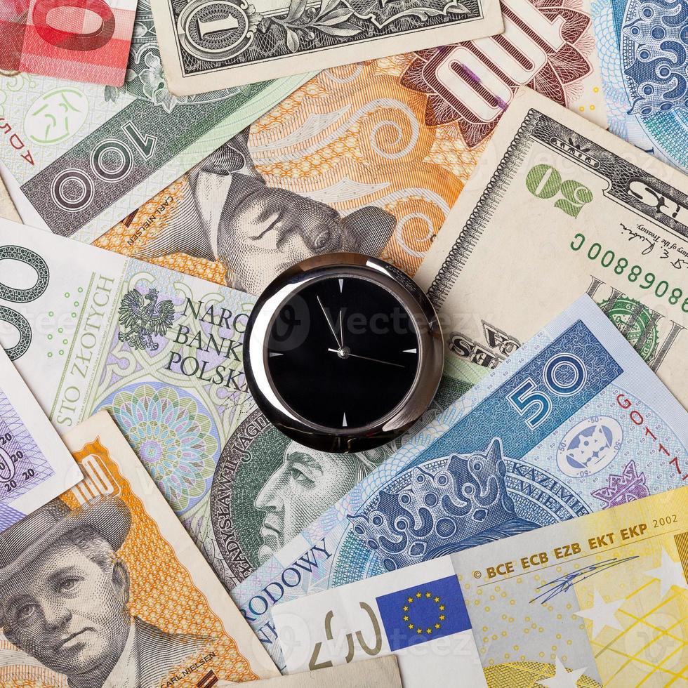 clock on money background photo