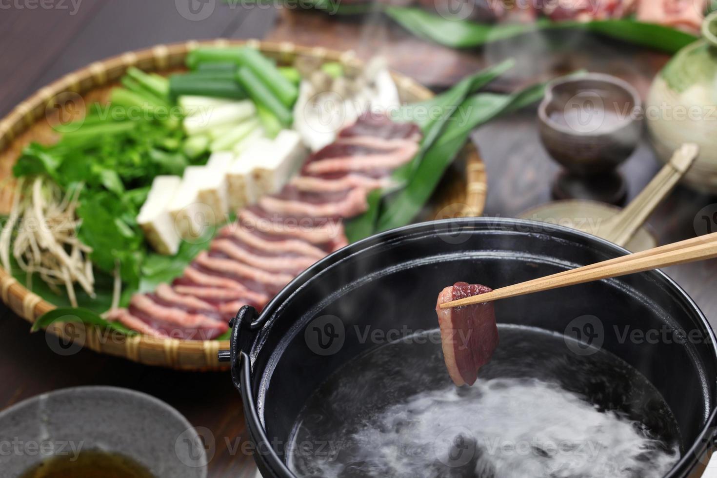 wild mallard duck hot pot, japanese one pot dish photo