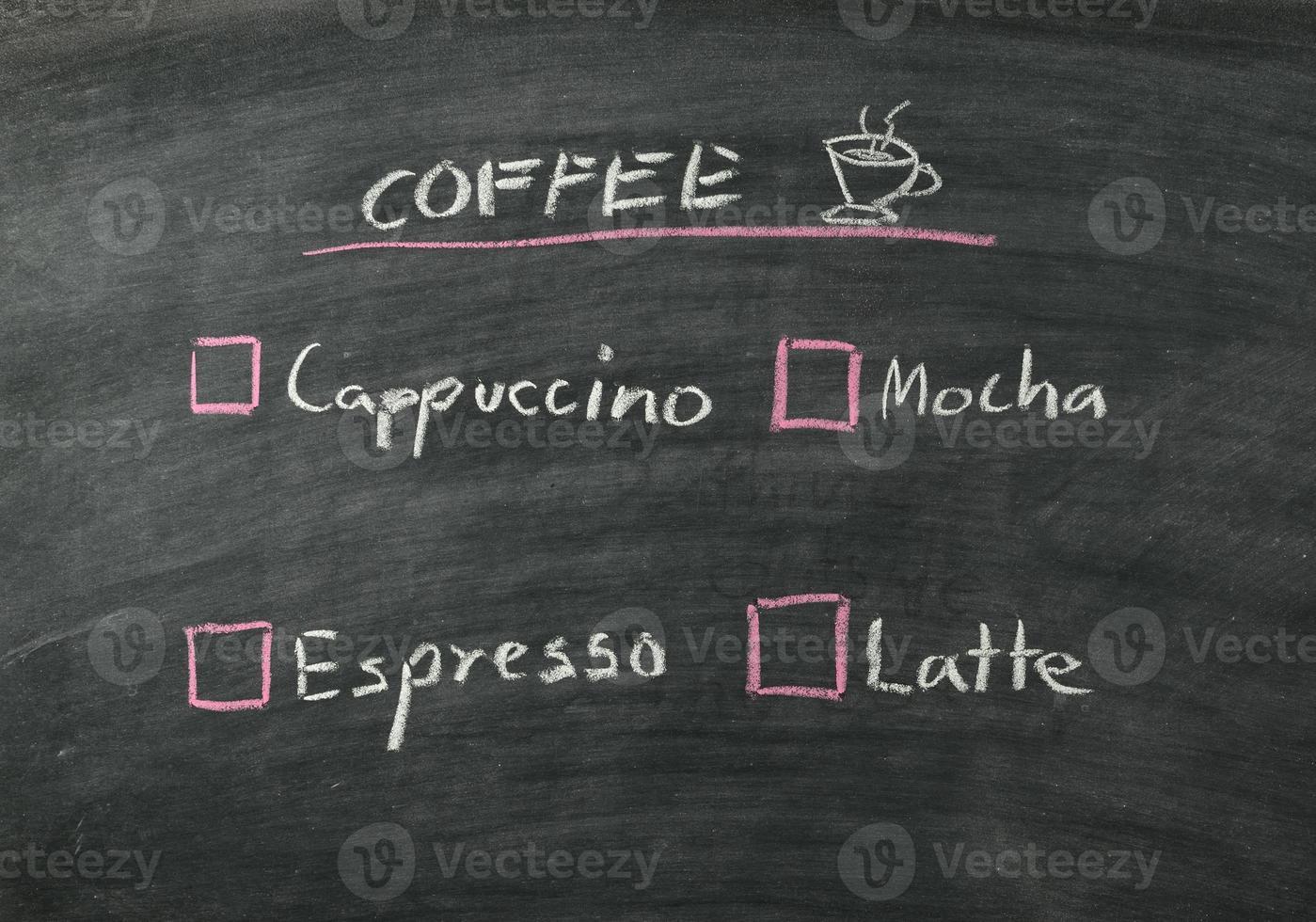 menu de cafe foto