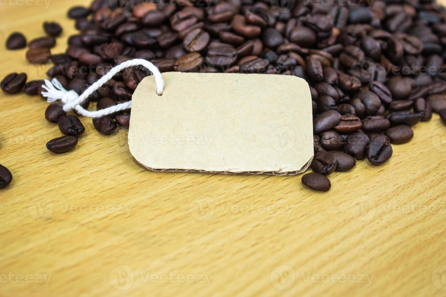 tag on the background of coffee photo
