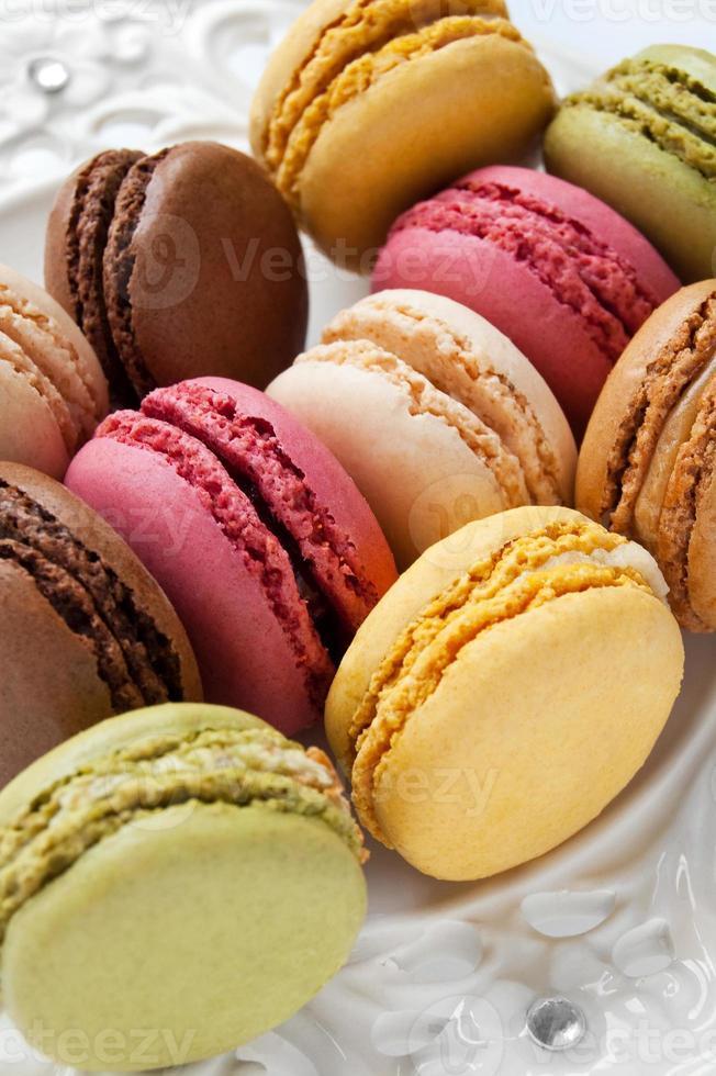 coloridos macarons franceses foto