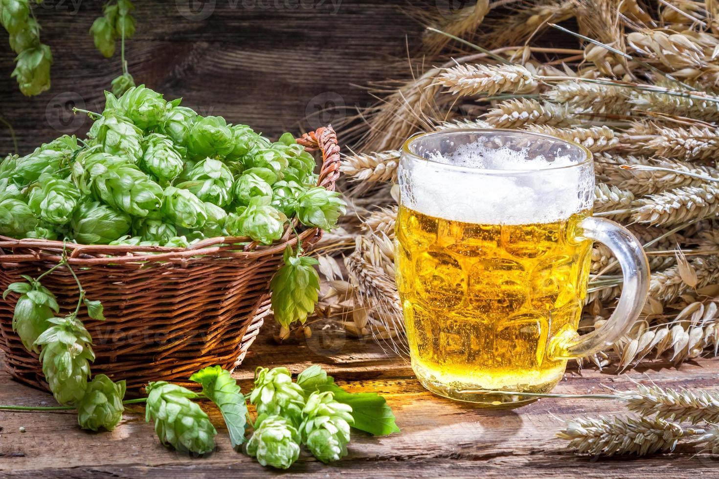 cerveza fría fresca con una espuma grande foto