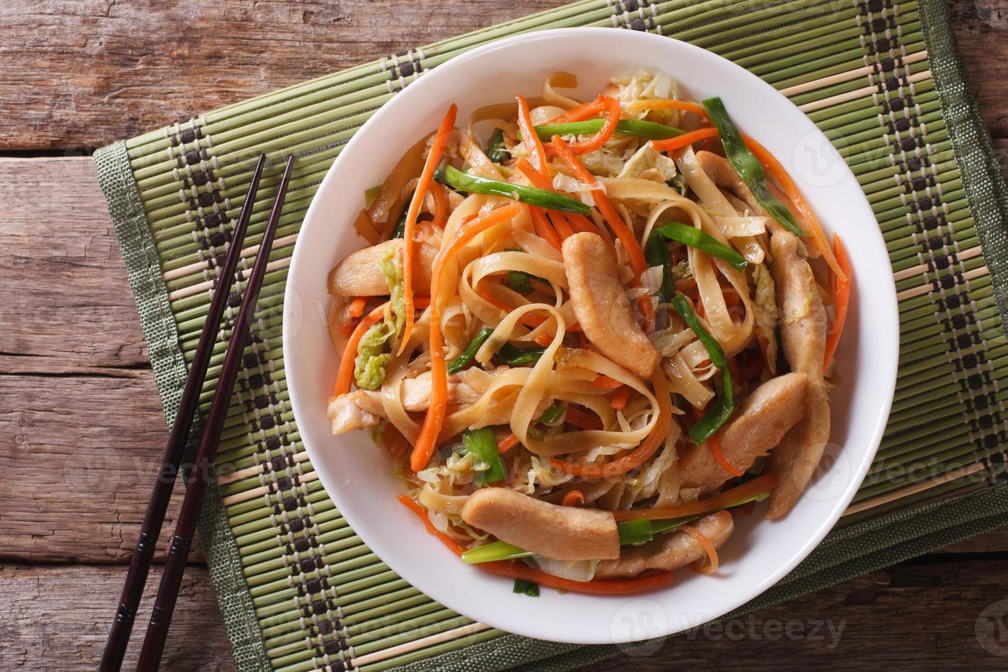 Chow Mein close-up. horizontal view from above photo