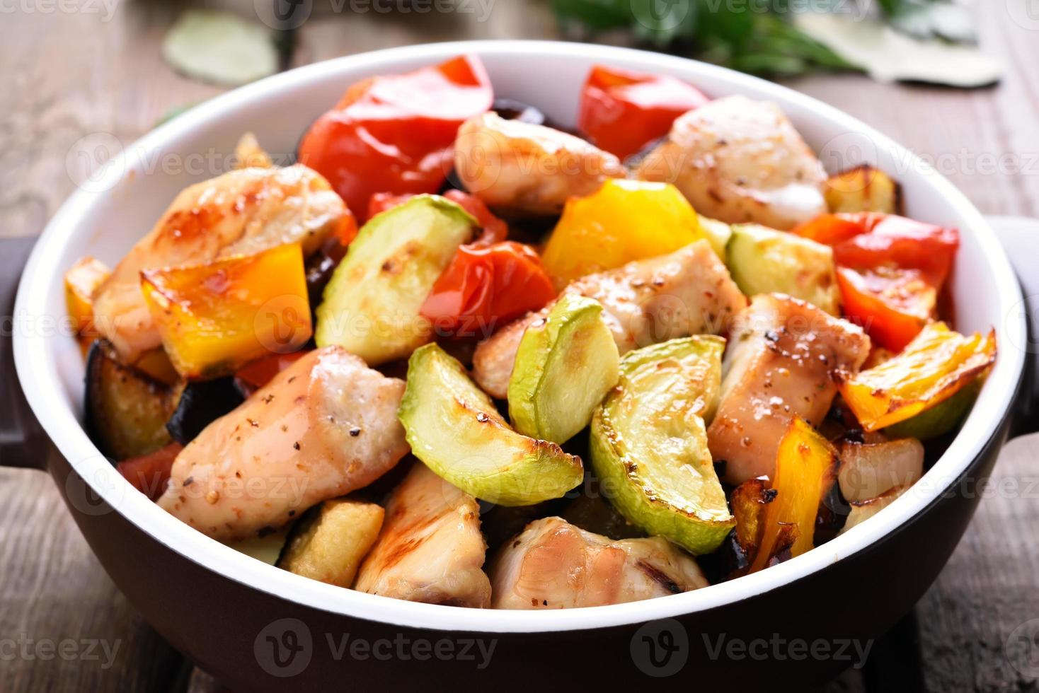 Fried vegetables with chicken meat photo