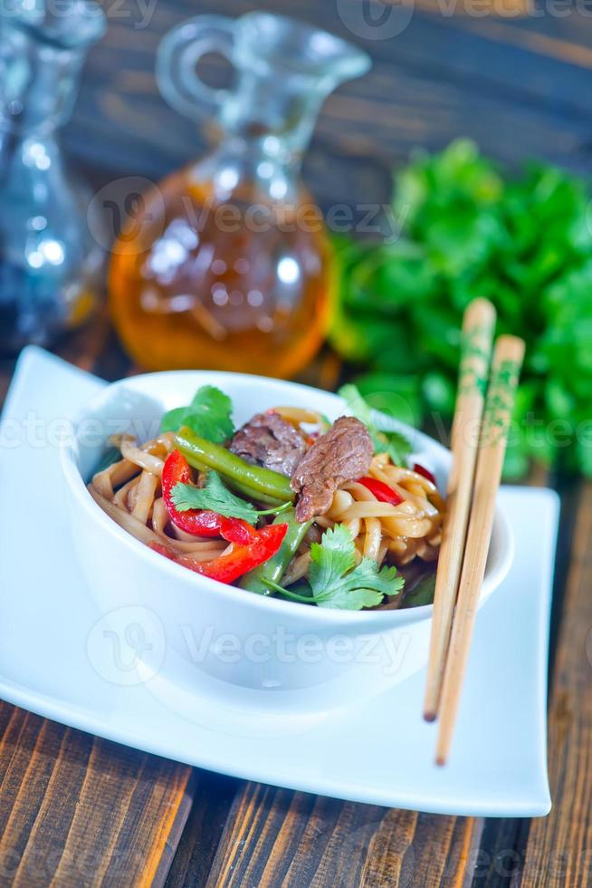 noodles with meat photo