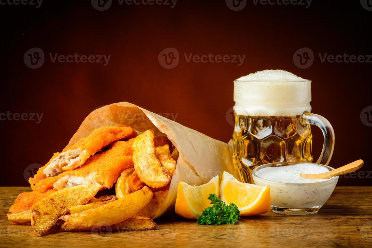 Fish, chips and beer photo
