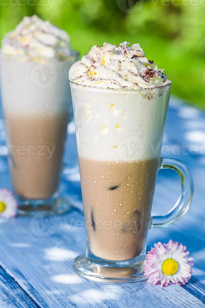 Cold latte with ice photo