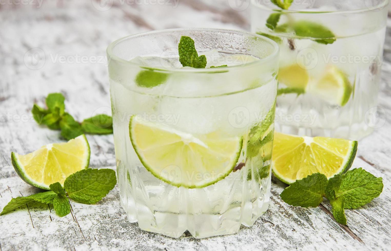 Cold fresh lemonade drink photo