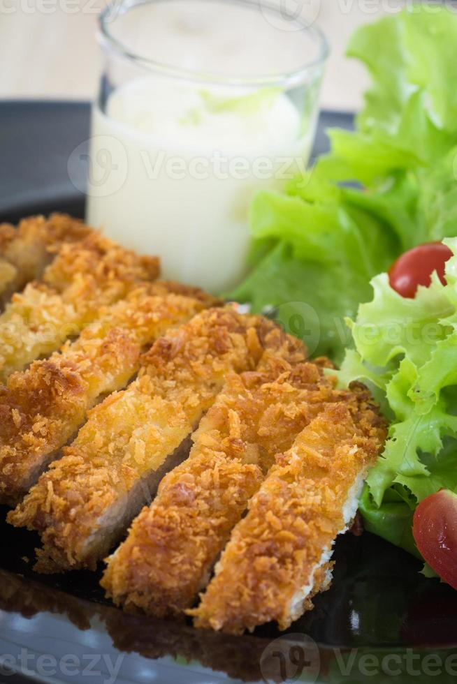 Deep fried breaded pork rice with salad photo