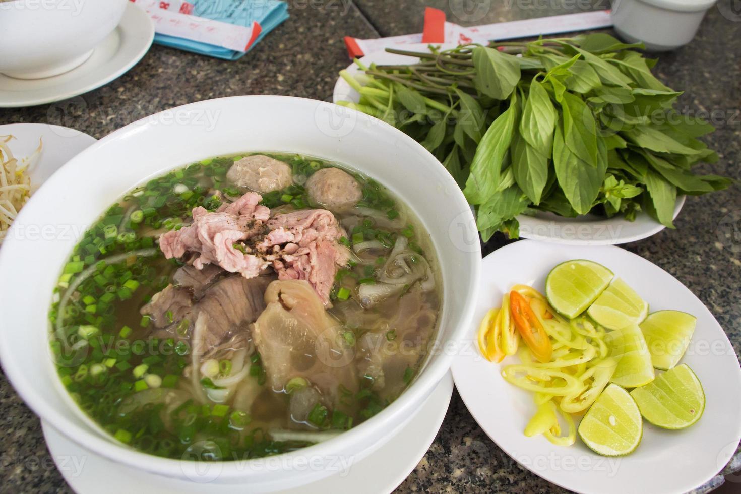 Vietnam noodle Set in Ho Chi Minh city photo