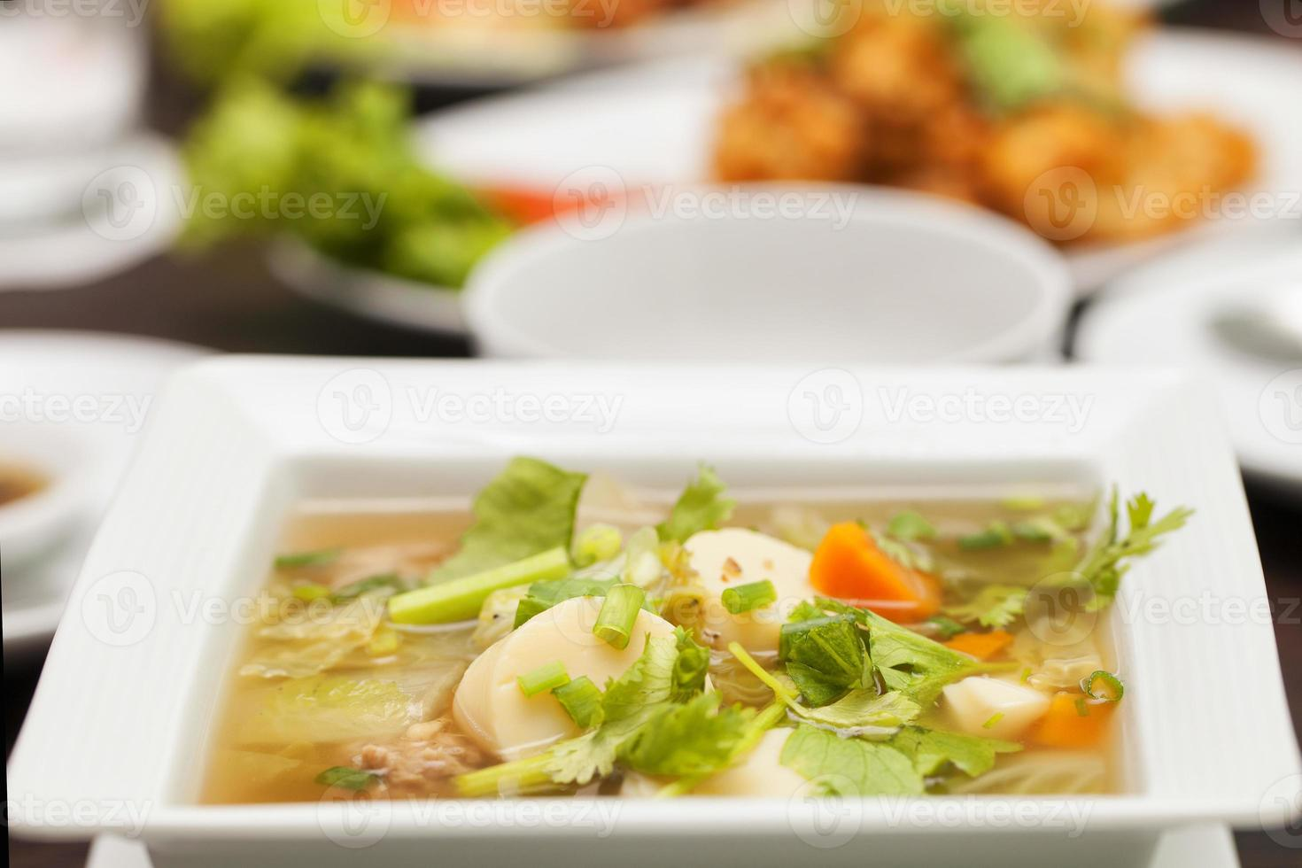 Soup with tofu photo