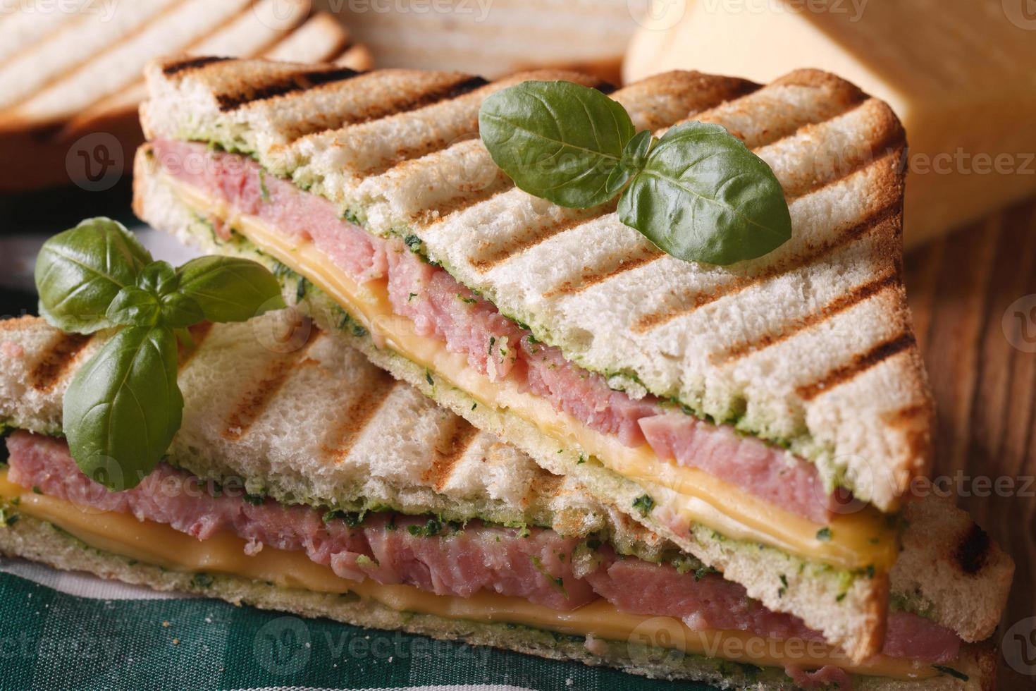 Grilled sandwich with ham, cheese and basil closeup photo