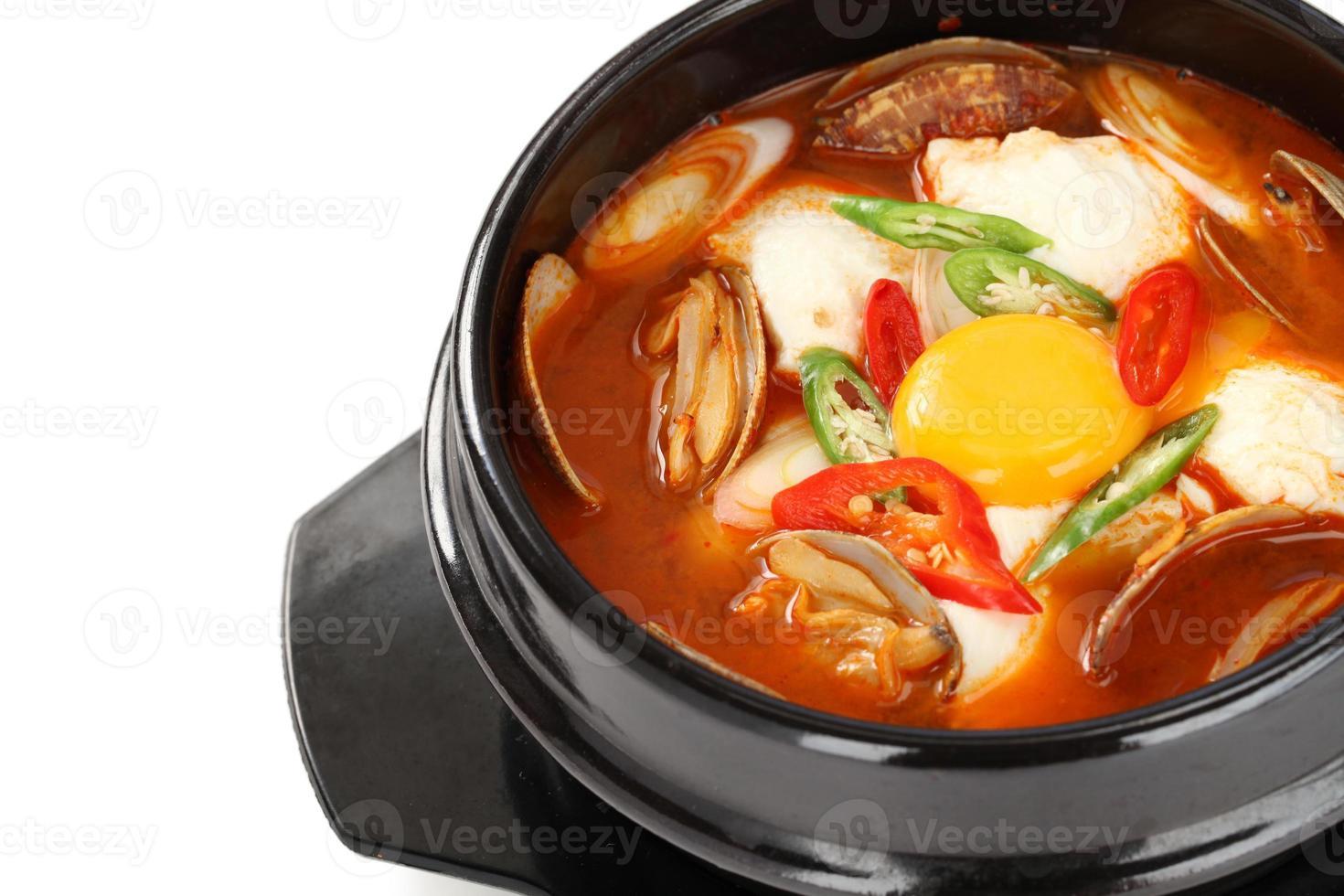 sundubu jjigae, korean soft tofu stew photo