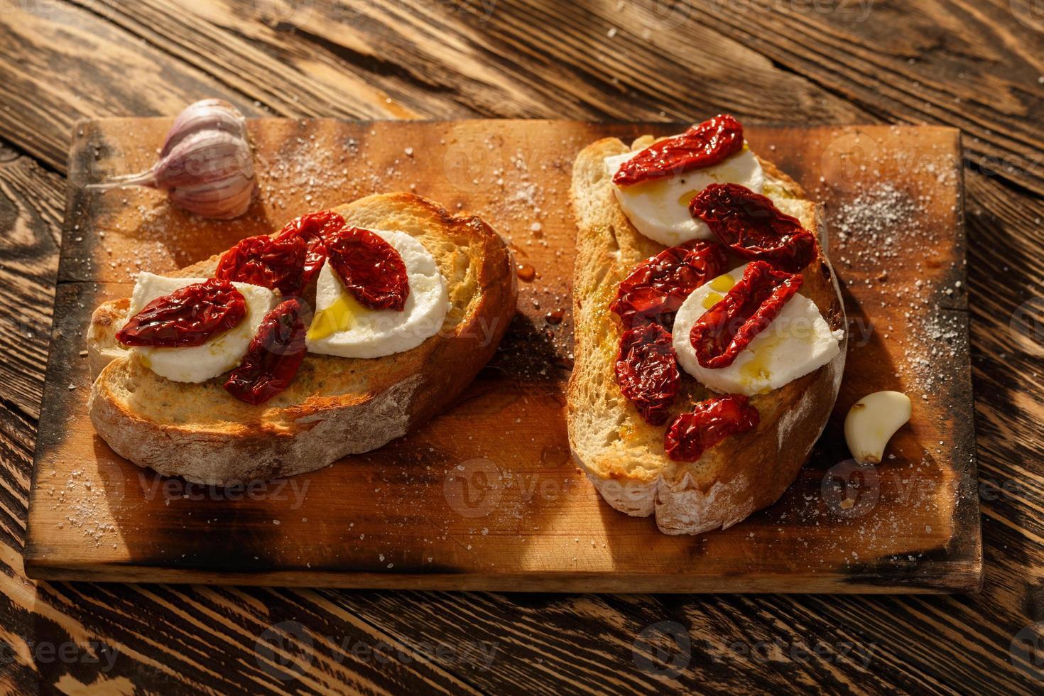 Bruschetta with mozzarella photo