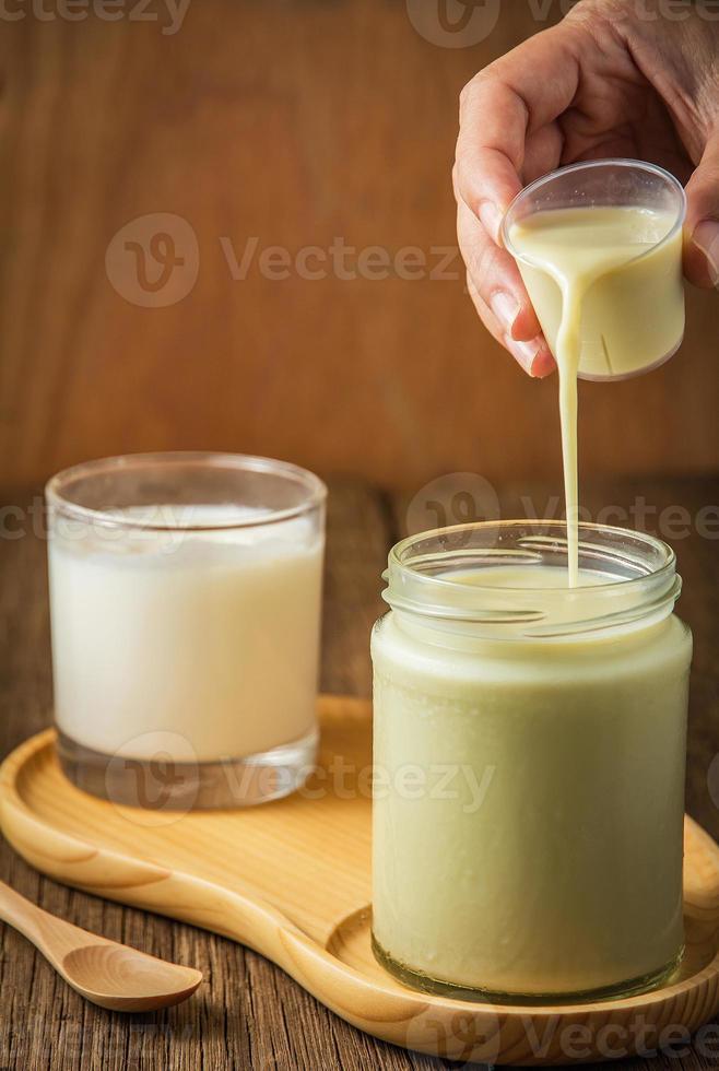 Fresh soy milk and yogurt photo