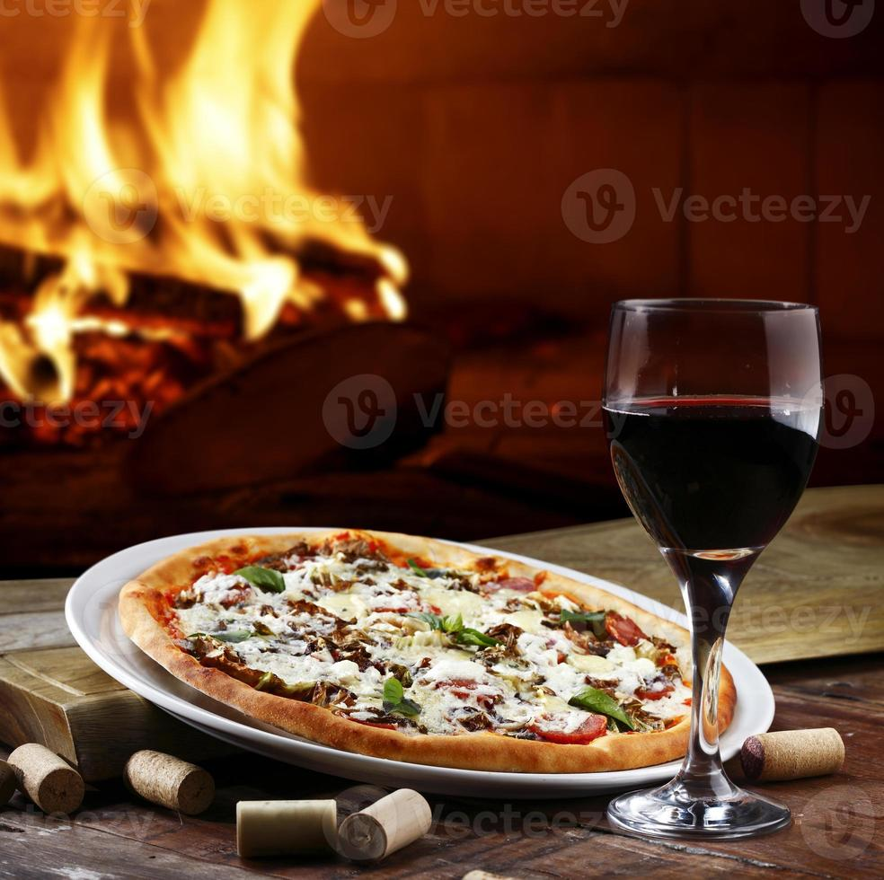 Pizza in a Wood Burning oven photo