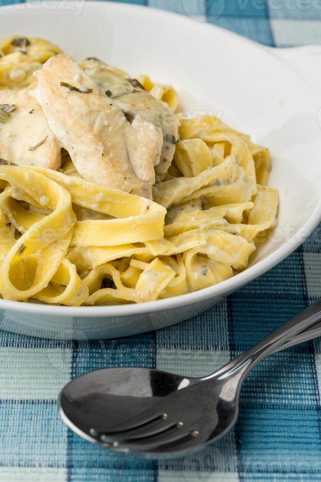 macaroni with chicken fillet photo