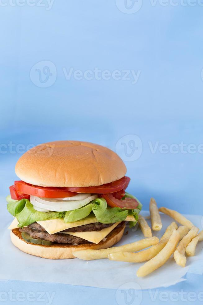 Delicious Cheese Burger with Milk and Tomato Sauce photo