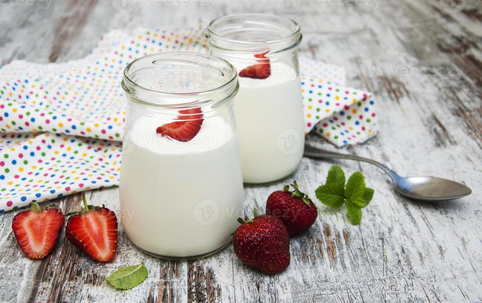 Strawberry fruit yogurt with fresh strawberries photo