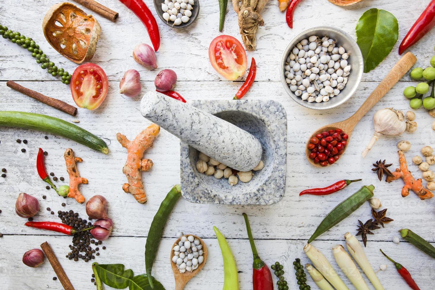 Thai food ingredients, vegetable, spicy taste photo