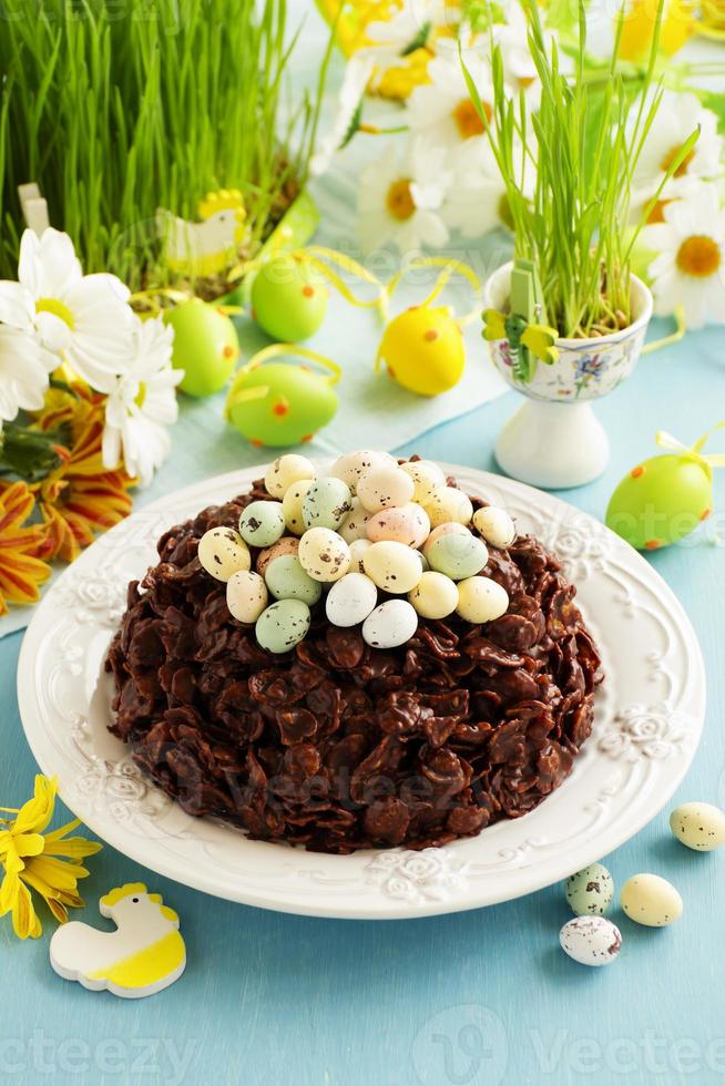 Traditional Easter cake of chocolate with chocolate eggs. photo