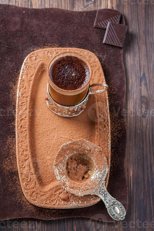 cup of hot black coffee photo