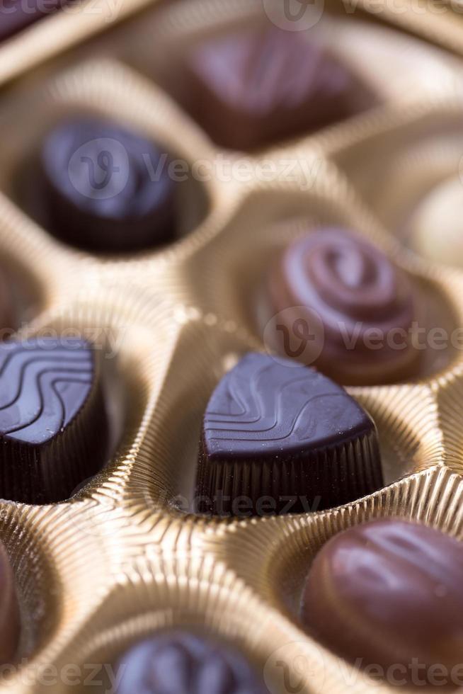 Close up shot of chocolates box photo