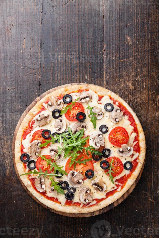 Pizza with mushrooms photo