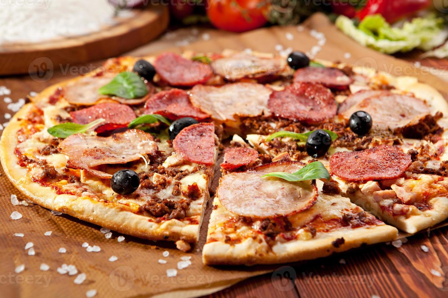 pizza de carne foto