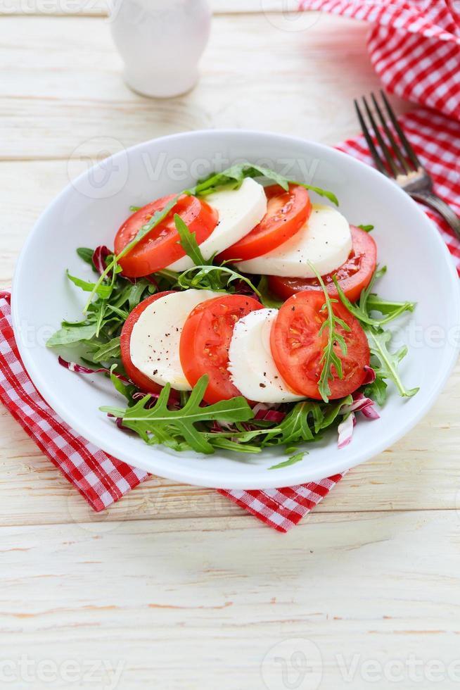 fresh tomato salad with mozzarell photo