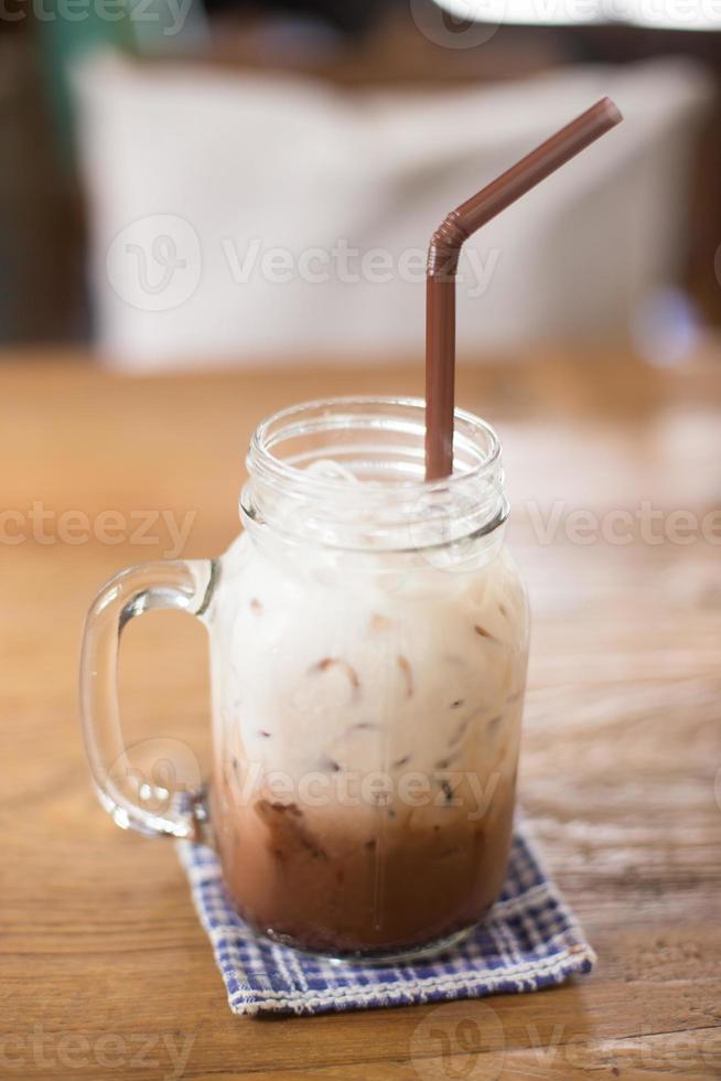 Ice chocolate on a table photo