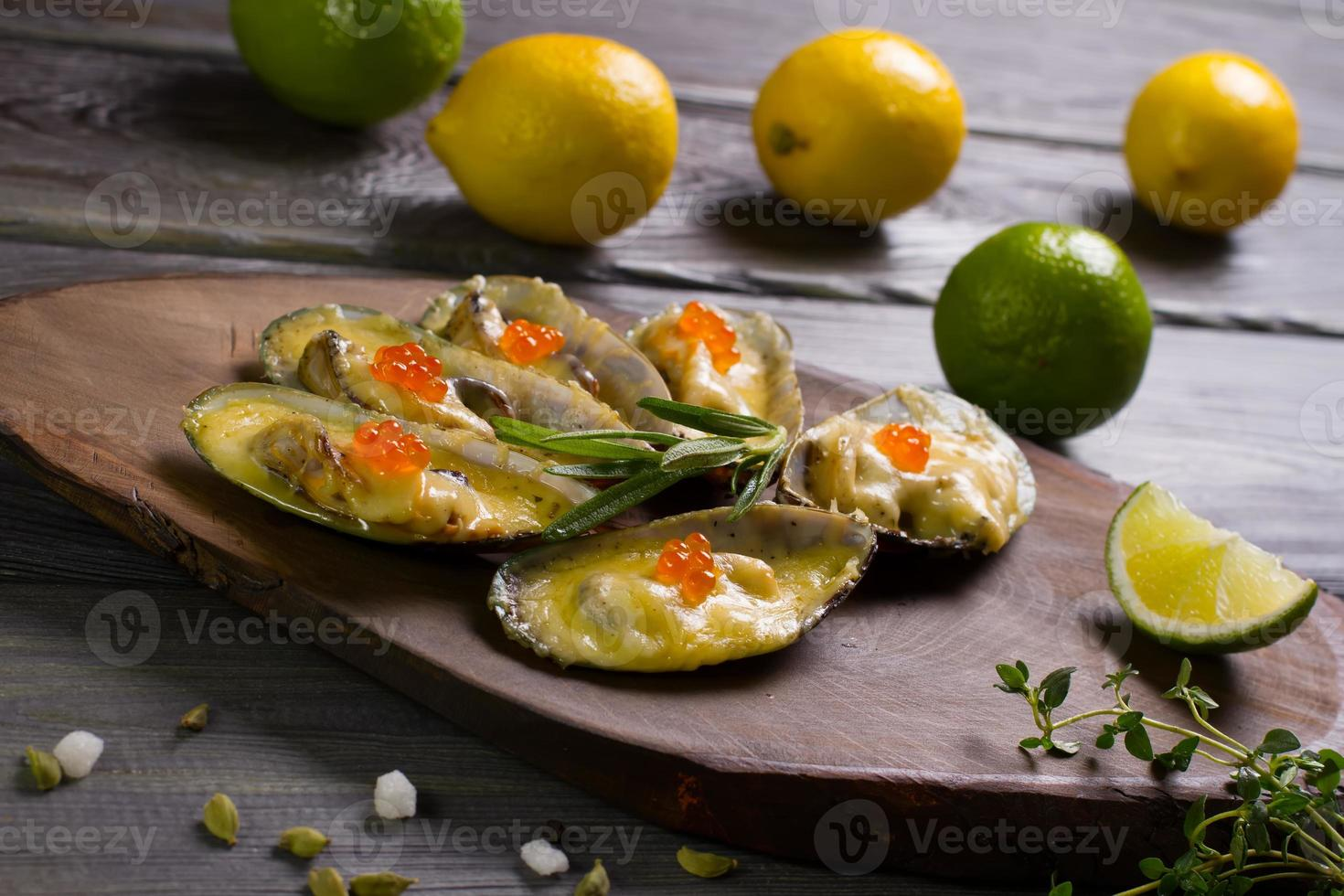Baked mussels. photo