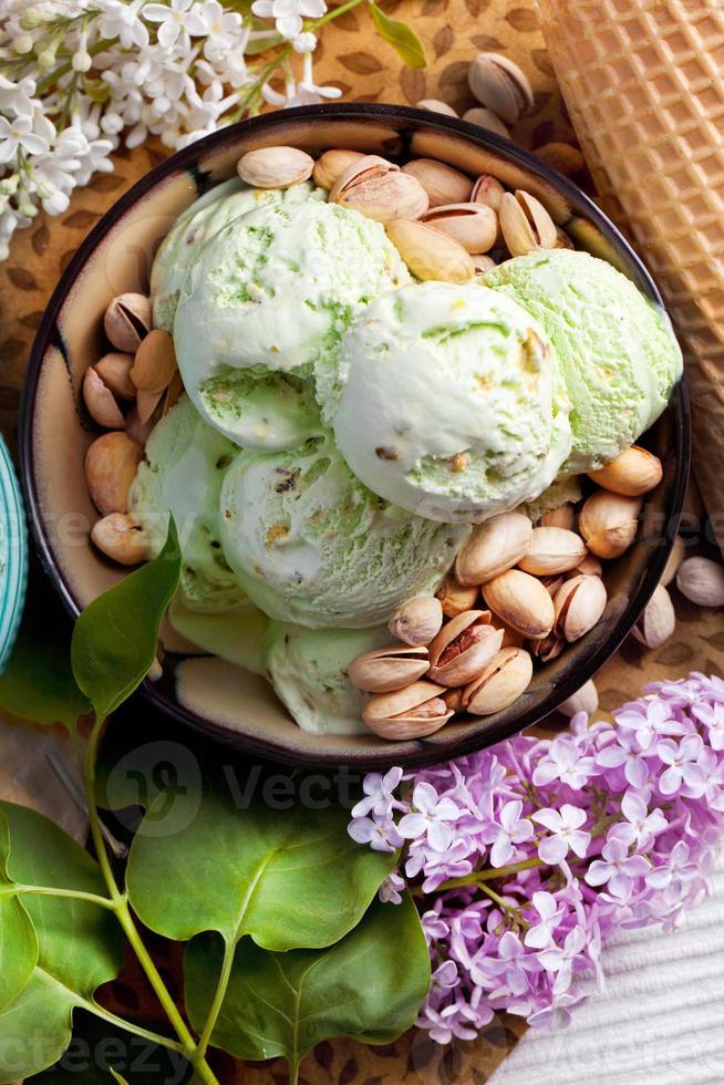 helado de pistacho foto