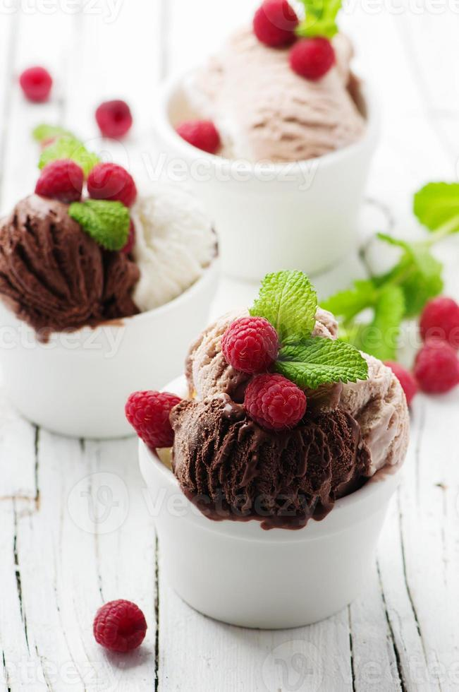 Ice cream with berry and mint photo