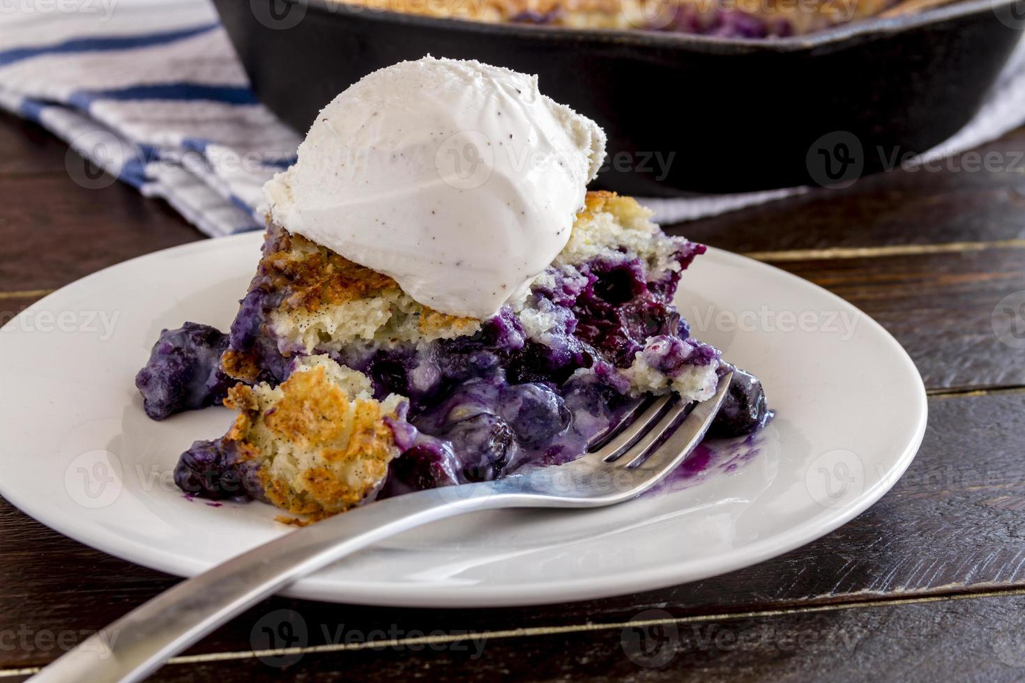 Blueberry Cobbler Baked in Cast Iron Skillet photo