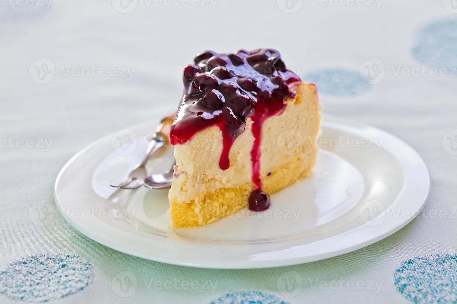 Sweet cake with ice cream photo