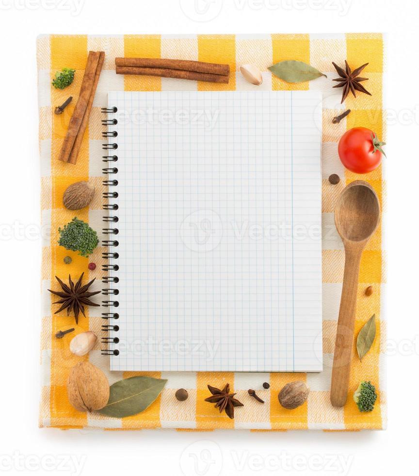 ingredientes alimenticios y libro de recetas foto