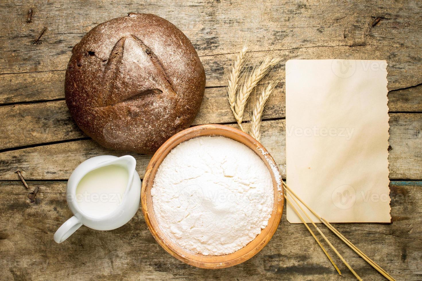 Fondo de receta de panadería. foto