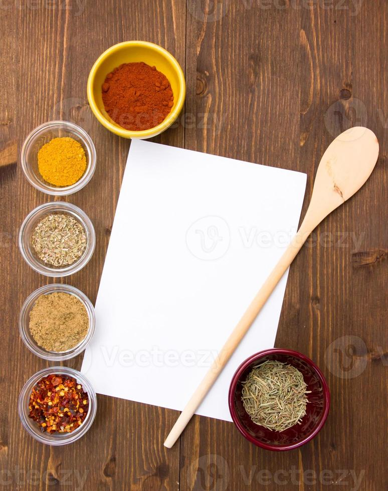Recipe with spices photo