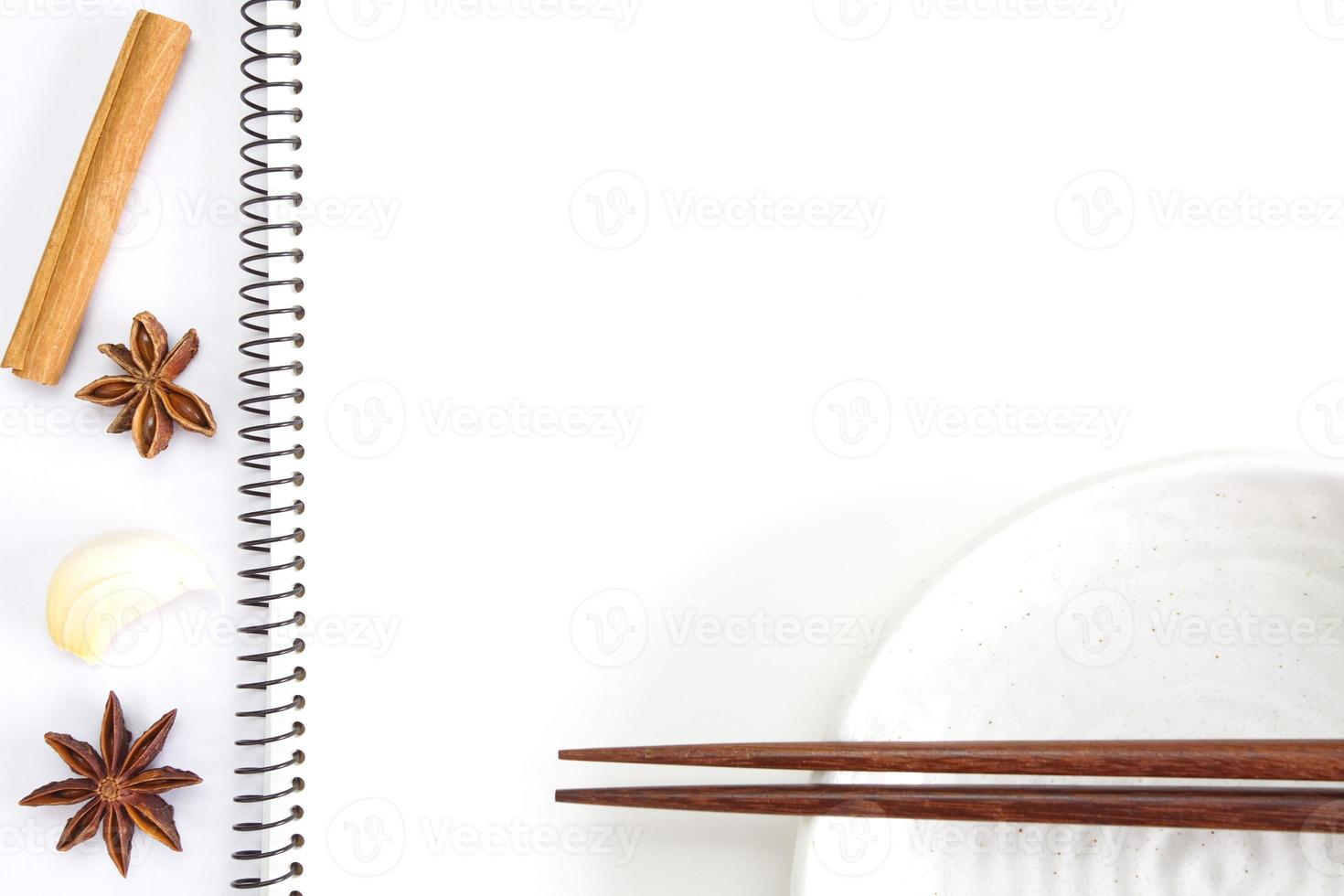 Open white notebook for recipes photo