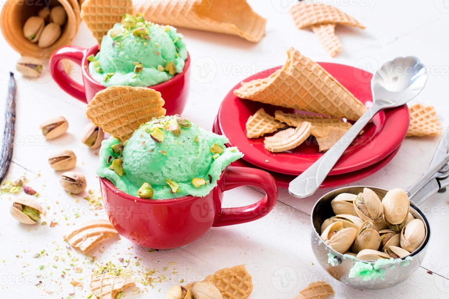 helado de pistachos foto