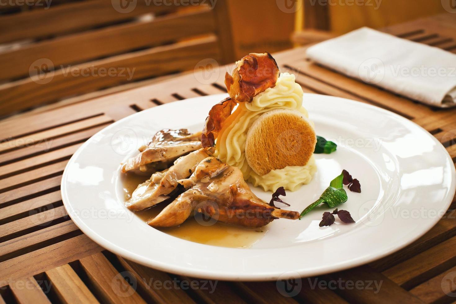 fresh healthy food with chiken and vegetables photo