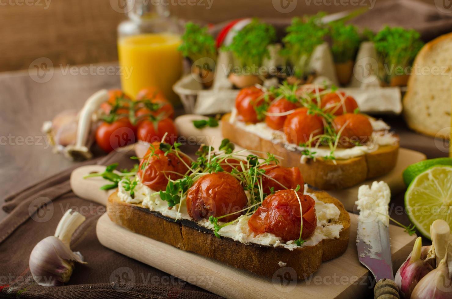 Roasted Cherry Tomato Sauce and Ricotta on Toast photo