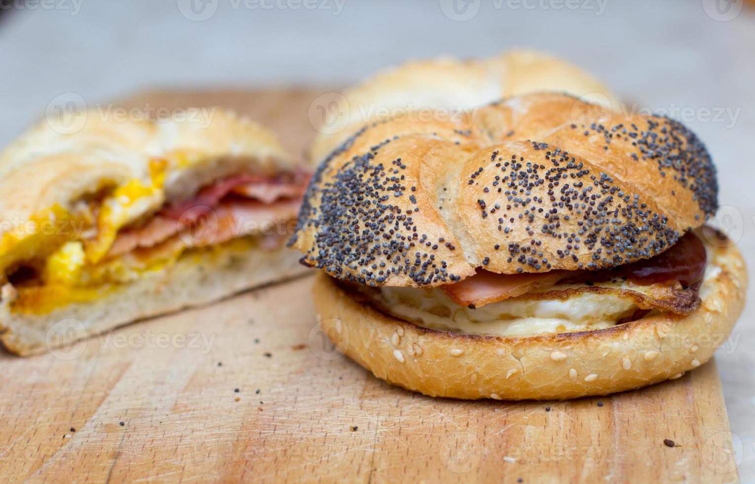 Sandwich with egg and bacon photo