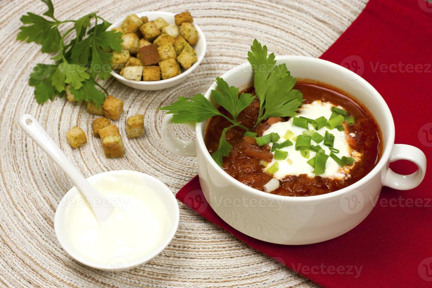 Borscht, beetroot soup photo