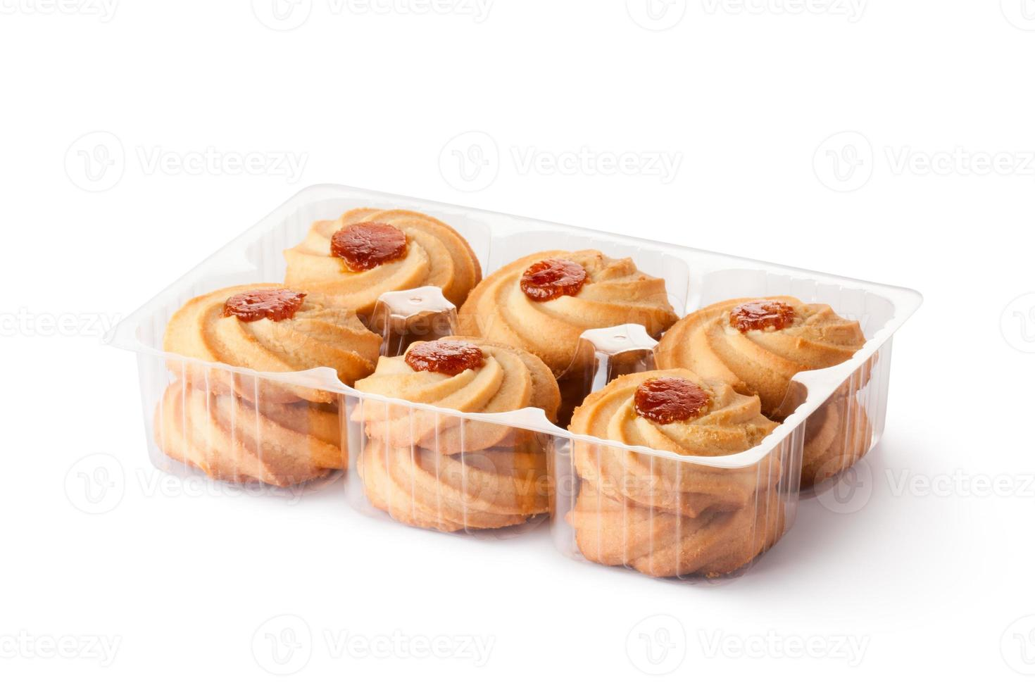 Biscuits with jam toppings in retail package photo