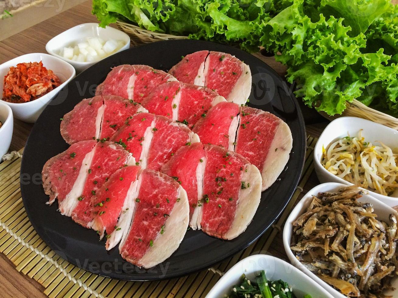 Food on Korean BBQ grill, meat and vegetable photo